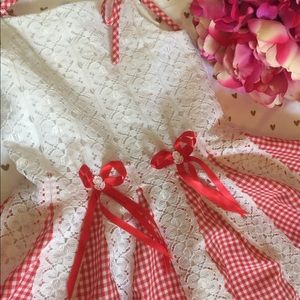 Girl's Red Lace Gingham Dress (size 5)